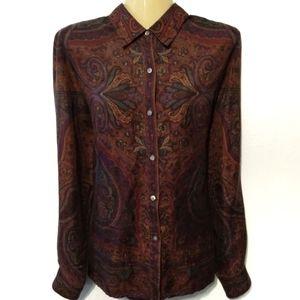 Ralph Lauren silk button up Paisley blouse